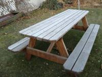 I have a 7' picnic table for sale. stained , beveled
