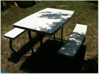 This is a great picnic table with a metal frame and