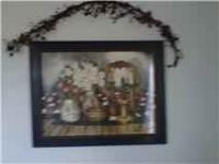 "Country picture - dark blue frame - 28"" width by 22"""