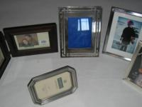 Picture 5 Frames Lot of 5 4 Silver 1 Wood Picture 5