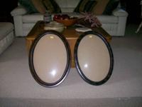 Frame has bubble glass and is oval. I have 4 to choose
