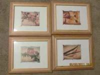 1 large fruit picture with a dark wooden frame $15, and