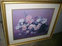"Beautiful gold framed picture of flowers 34"" W x 30"" H"