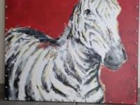 picture of zebra 4ft x 4 ft picture of tree 4 ft x 4