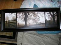 "Two framed 15""x40"" three picture sets - black and"