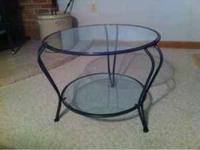 Pier 1 coffee table. Rod iron and glass. In almost