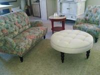 New Chas Loveseat and Chas Armchair in Blue Meadow.