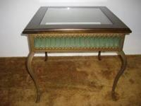 Pier 1 Imports Vintage Cool Table Rich Dark Wood, Glass