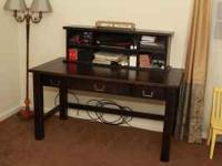 Solid wood dark stained desk from pier1 w/hutch. Lovey