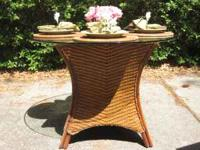 This Pier 1 Imports dining table features a round glass