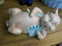 Pig Figurines - Med/Lg Pig Lying own on side w/ blue