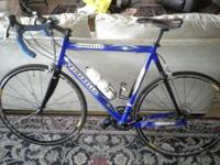 This is an aluminum frame with carbon front fork and a