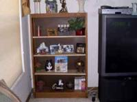 Pine solid wood bookcase items on bookcase not