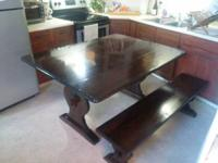 "Pine Drop Leaf Table. Measures 30.5"" tall, 59"" long,"