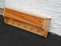 PINE HEART SHELF WITH HOOKS Approximate Size: 5.25""