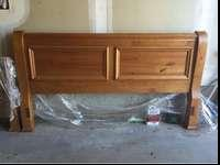 Pine headboard with matching footboard, king size.