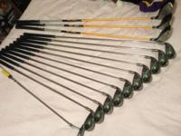 Left handed set of golf clubs consisting of driver, 3