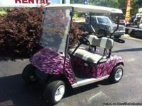 WOW!!! Pink and black zebra print EZGO! This golf cart