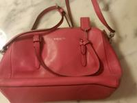 Small pink Coach purse with long shoulder or cross-body