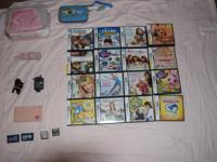 Pink DS with 22 games, two carrying cases, and two