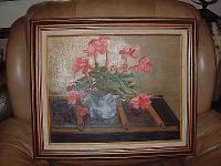 Nice clean Pink Flowered Oil Painting in a Great Wood