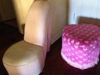 Bright Pink Heart-Shaped seat, also a pink shoe chair