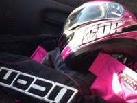 Matching Pink & & Black ICON jacket SZ little. Helmet