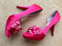 Pink, hand-jeweled formal peep-toe heels from David's