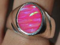 A LOT OF SILVER THICK BAND PINK SIMULATED OPAL WEIGHT: