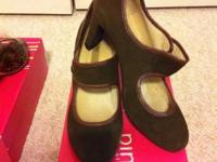 Olive maryjanes. Worn once!  $30  Size 9