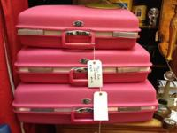 Pink Vintage Suitcases. 1960's Pink Travel suitcase.