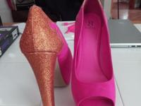 Pink with 7 in copper gold heel Size 11 shoes by Scene.