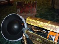 4 cardboard treasure chests -- burplap -- squirt guns