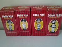 Complete set of LOGO MAN bobble heads . Never been