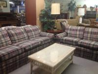 For Sale: Plaid Sofa And Loveseat Living Room Set