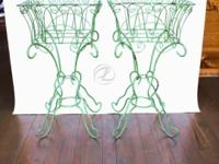 Plant Stands Wrought Iron PAIR Vintage Green Planters
