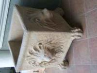 solid concrete lions head clawfoot planter. 2 x 2 x 2