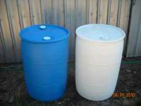 Used 55 gallon plastic barrels.......food grade and