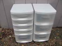 2 Plastic Office Drawers - $8.00 each With wheels