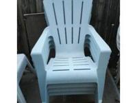 4 PLASTIC CHAIRS $10.00 A PIECE 4 WHITE CHAIRS $5.00 A