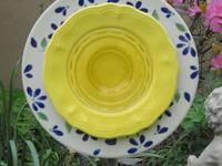 I use plates and bowls I find at yard sales and flea
