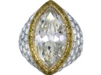 Platinum and 18k Yellow Gold 7.22 Carat Marquise Cut