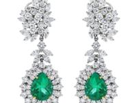Platinum Pear Shape Emerald and Diamond Drop