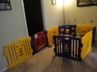 Baby play pen - 8 panels, excellent condition, covers a