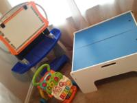 Play table $20 SOLD Easel $5 Push Toy $3 Or take the