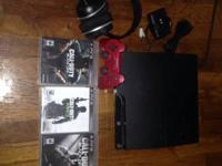 PS3 for sale with one controller and three games. Also