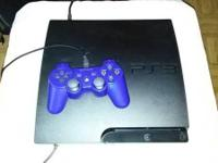Playstation III 160GB slim with wires and blue