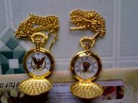 2 NEW POCKET WATCHES ONE WITH EAGLE DESIGN. THE OTHER