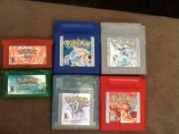 Pokemon blue, red(2), silver, crysta, l emerald, and