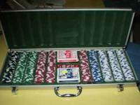 A VERY NICE LARGE SET OF CHIPS AND DICE WITH CARDS AND